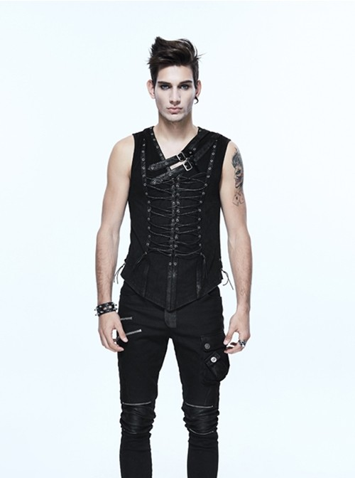 Steampunk Black Lace-up Slim Fit Sleeveless T-shirt