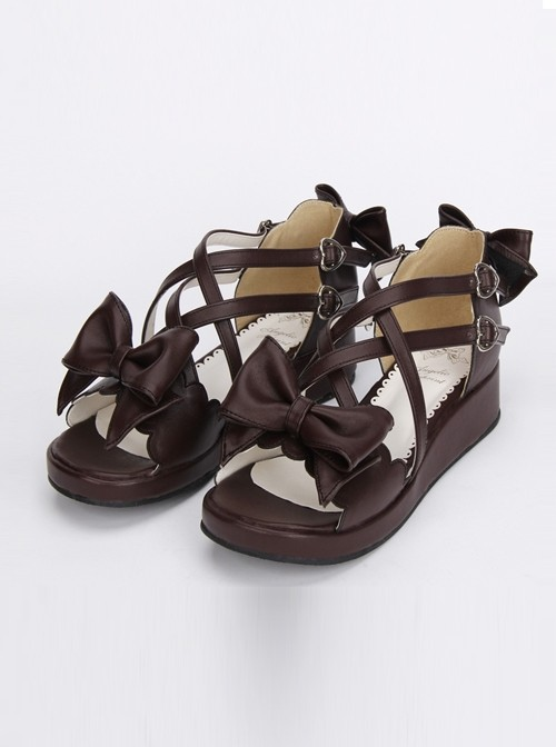 Brown Bowknot Cute Lolita Mid-heel Sandals