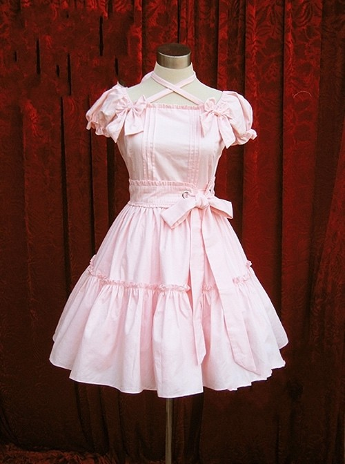 Pure Color Cute Bows Neck Strap Short Sleeves Sweet Lolita Dress