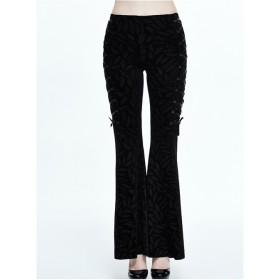 Steam Punk Gothic Ribbons Retro Dark Feather Pattern Flare Trousers For Women
