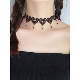 Gothic Heart Shaped Black Lace Cute Lolita Necklace