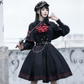 Blouse and Tie and Skirt with Belt  Polyester Gothic Lolita Dresses