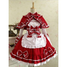 Lolita Show  Red and White Lace Up Bowknot Sweet Lolita Dress Four Pieces  Set