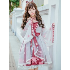 Chinese Classic Goldfish and Flower Printing Sweet Lolita Long Sleeves Dress