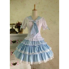 Sweet College Style Summer Short Sleeves Two Pieces Lolita Dress Set