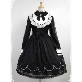 Black Organza Crown Printing Shirt Collar with Bow Classic Lolita Dress