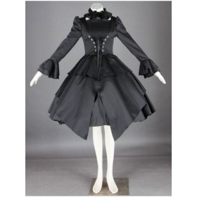 Mystery Black Gorgeous Long Ruffle Sleeves Gothic Lolita Dress