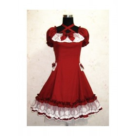 Red Lovely Lace Neck Strap Sweet Lolita Dress