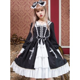 Black and White Sailor Collar Lace Crucifix Layered Gothic Lolita Dress