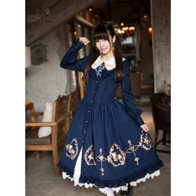 Alice In the Wonderland Series Bronze Flounces Classic Lolita Long Sleeves Dress