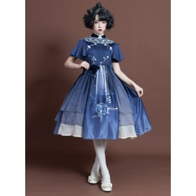 Chinese Style Satin Elegant Classic Lolita  Short Sleeves Dress