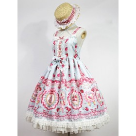 Strawberry Rabbit Series Bowknot  Ruffle Edge Sweet Lolita Vest Dress
