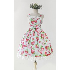 Printed Strawberry with Bow Sweet Lolita Sling Dress