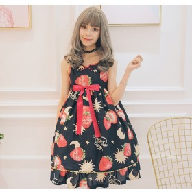 Strawberry Angel Series High Waist Bow JSK Sweet Lolita Sling Dress