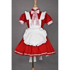 Red Short Sleeves Bow Lovely Cosplay Maid Costume