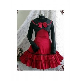 Academic Style Red Dress with Black Cape Sweet Lolita Dress set