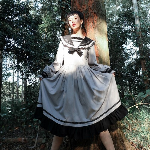 College Forest Style Navy Collar  Long Sleeves JK Lolita Dress