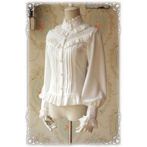 Fragrance Thick Chiffon Classic Lolita Blouse with Stand Collar