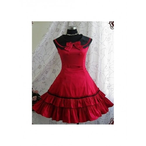 Red Sleeveless Bow Preppy Style Cotton Lolita Dress