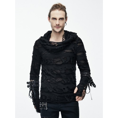 Black Hooded Hollowed Out Element Men' Long Sleeve T-shirt