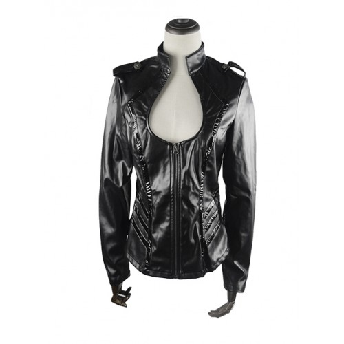 Punk Black Sexy Low-cut Thin Military Uniform Leather Jacket