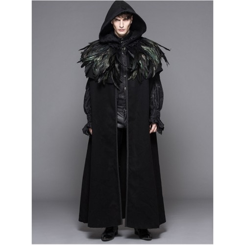 Detachable Feathered Shawl Hooded Thickened Men's Long Coat