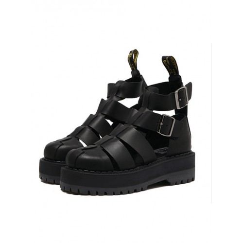 Harajuku Pure Black Thick Soles Leather Roman Sandals