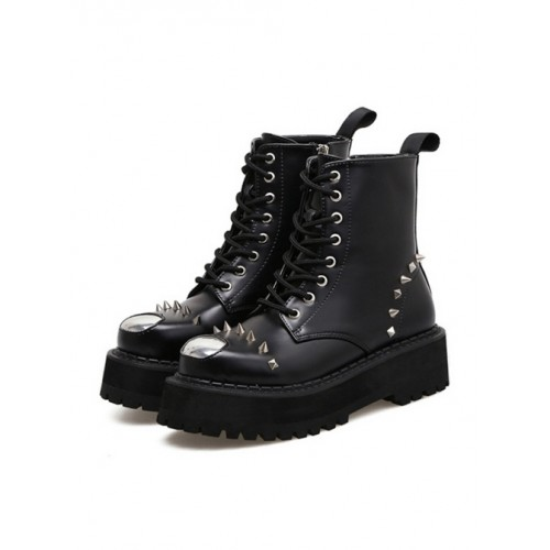 Punk Black Rivet High-top Thick Sole Women's Round-toe Martin Boots