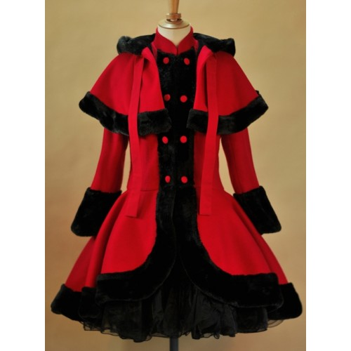 Thicken Red Slim Sweet Lolita Coat And Hooded Shawl Set