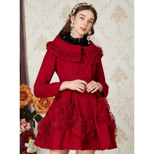 Wool Double-breasted Doll Collar Classic Lolita Red Coat