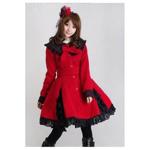 Glamorous Red Long Sleeves Bow Black Lace Lolita Coat