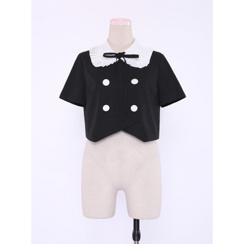College Style Retro Cute Double-breasted Lolita Blouse
