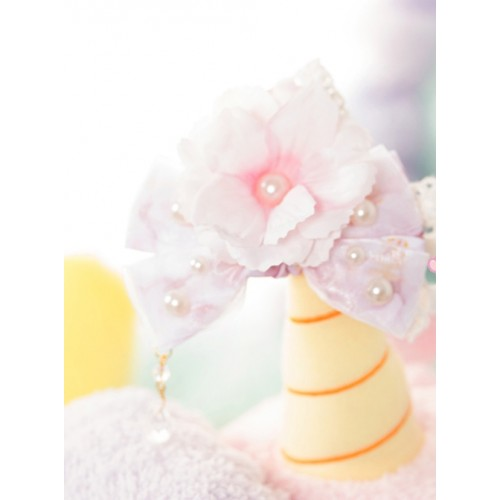 Emulation Floral Lace Bowknot Pearl Sweet Lolita Hairpin