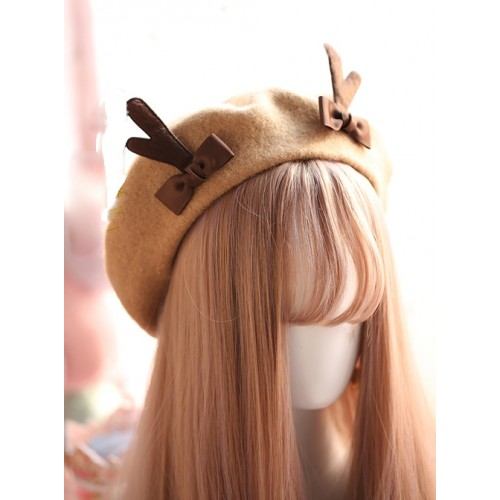 Autumn And Winter Christmas Cute Antlers Lolita Beret