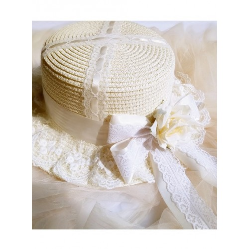Cute Long Ribbon Bowknot White Lace Sweet Lolita Straw Hat