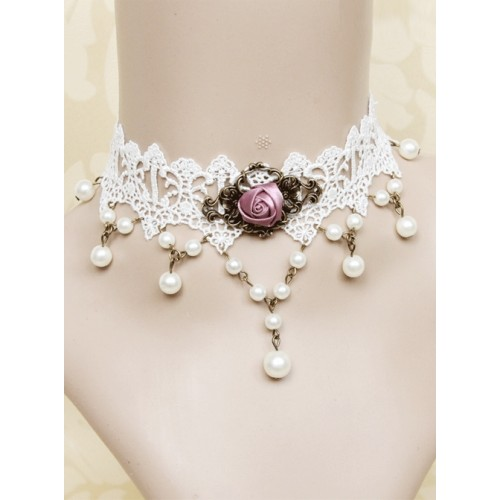 White Lace Retro Rose Pearls Lolita Necklace