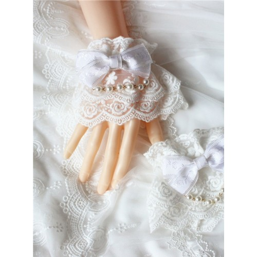 Bead Chain Bowknot Double Layer Rose Lace Lolita Hand Sleeves Multicolor