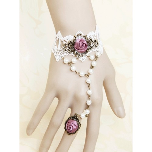 White Lace Retro Rose Lolita Bracelet And Finger Ring One Chain Set