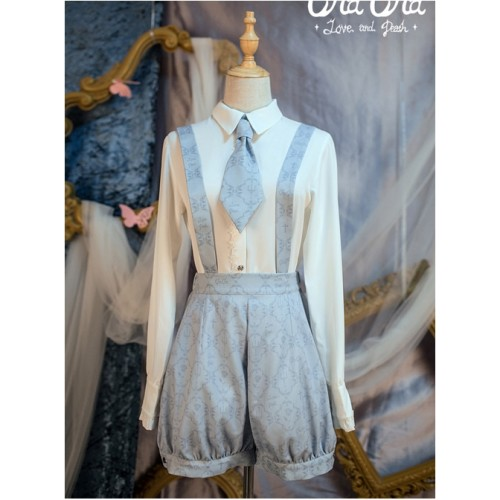 Love And Death Series Printing Blue-gray Lolita Bloomers