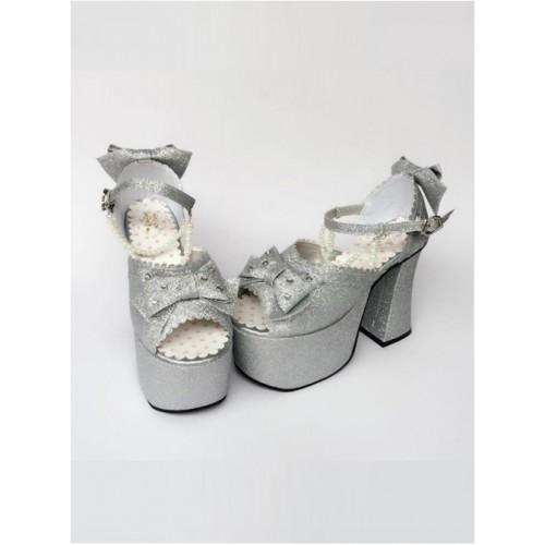 Bead Chain Silvery Sequins Bowknot Lolita Super High Heel Sandals