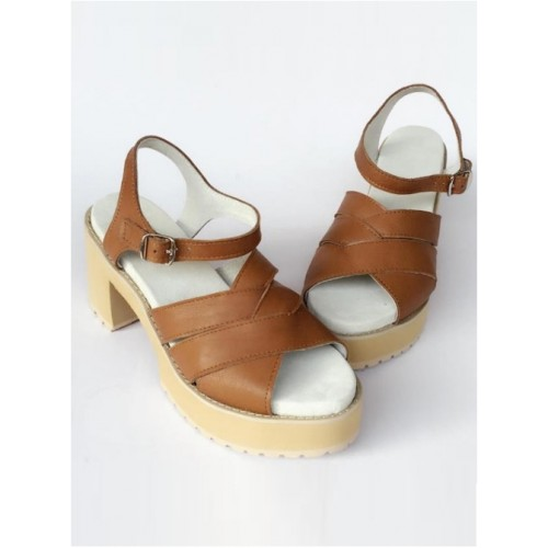 Comfortable Brown Leather Daily High Heel Sandals