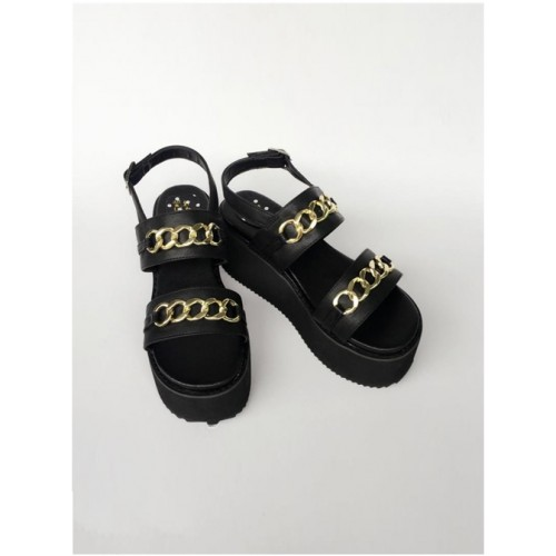 Black Thick Bottom Muffin Shoes Sandals Metal Decoration