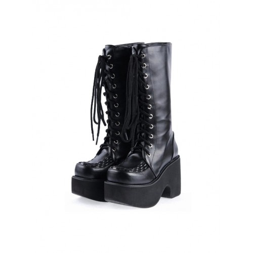 """Black 3.1"""" Heel Synthetic Leather Punk Gothic Lolita High Heel Boots"""