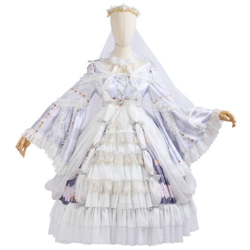 Cross The Lily Op Classic Lolita The Skeleton Lily Purple Ruffled Dress