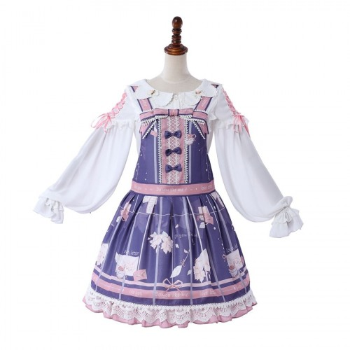 A Letter of Autumn Sweet Lolita Print Sleeveless Jumper Skirt Version A