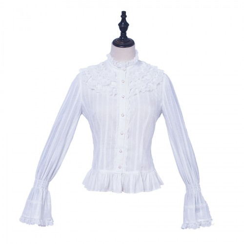 Sweet Lolita Cotton Long Sleeves Blouse with Stand Collar