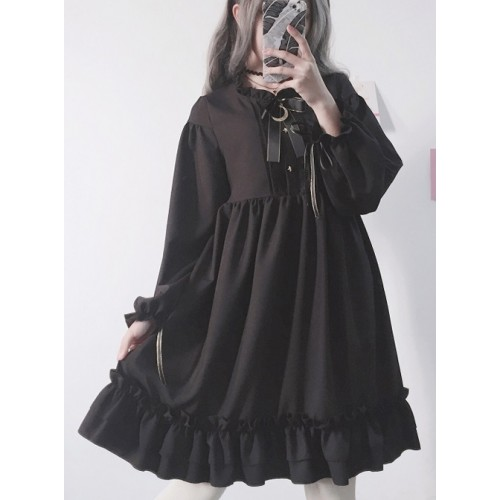 Japanese Sweet Lovely Bow with Flounces Pure Black Long Sleeves Gothic Lolita Dress