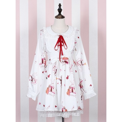 Sweet Doll Collar with Lace  Long Sleeves Printing Lolita Dress