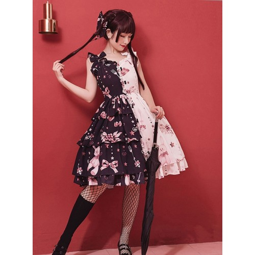 Chinese Style Color Matching Printing Sweet Lolita Sling Dress