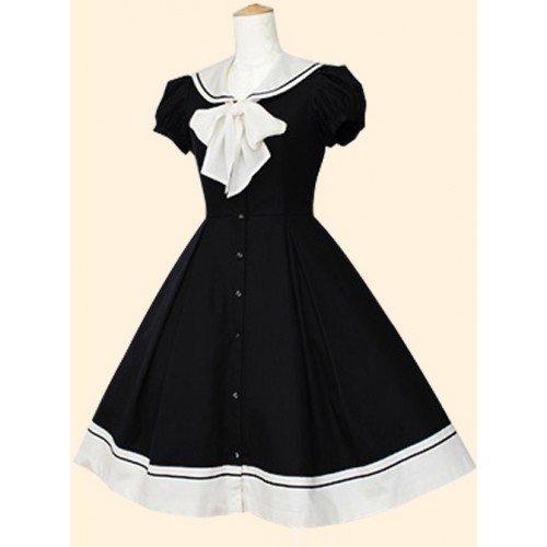 College Style Navy Collar Pure Color Sweet Lolita Dress
